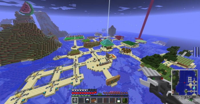 The farming islands, situated just outside of my main base. Generates most of the natural resources including 3 types of wood, every colour of wool, blaze rods, spider eyes, shitton of crops, etc.
